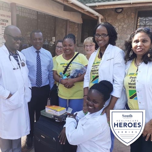Harrieth Gabone Mwalupindi with healthcare workers