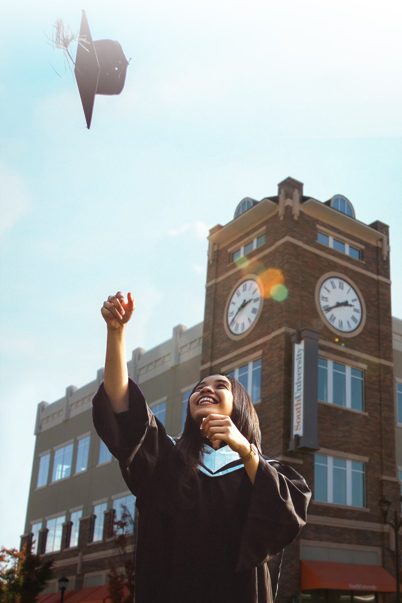Woman celebrating graduation